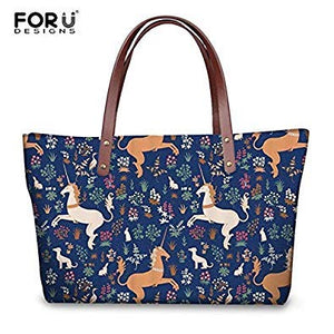 5f6f6443b3 SLB Works FORUDESIGNS Handbags Rainbow Unicorn Printed Women Large Tote Bags  Fashion Ladies Girls Casual Summer