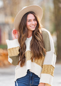 Patchwork Textured Hoodie Sweater