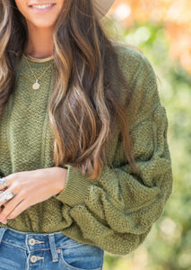 Moss Ruched Sweater