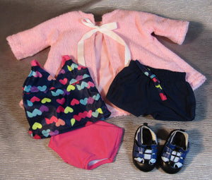 Heart-Print Swim Set