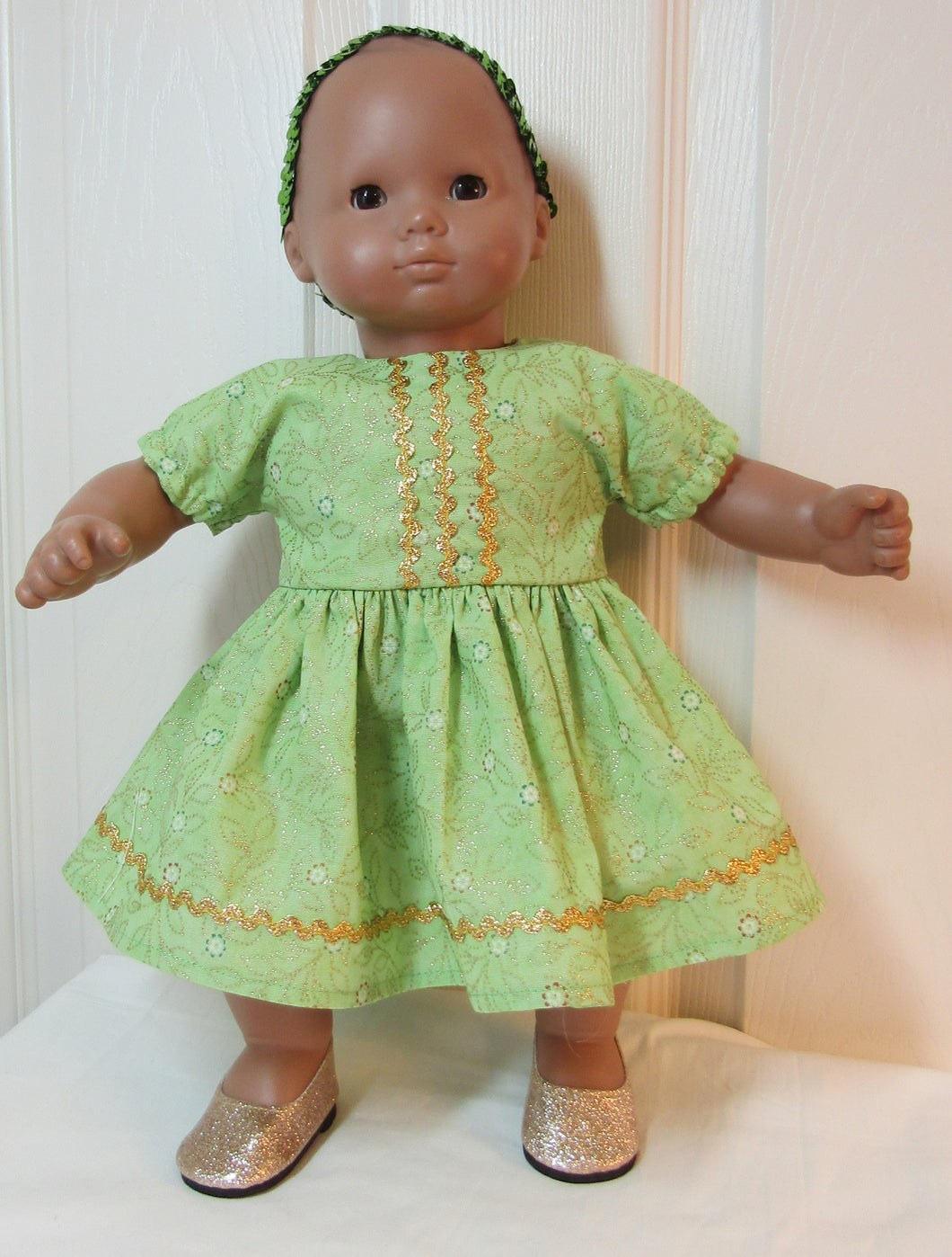 Bitty Baby Sparkly Green Dress