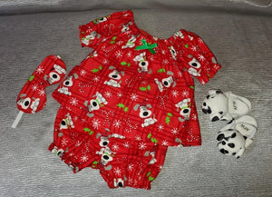 Christmas Puppy-Print Pajamas