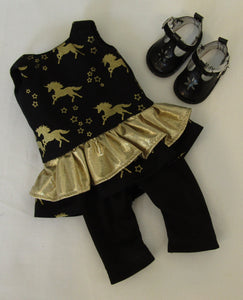 Wellie Wisher Black Unicorn Tunic & Leggings