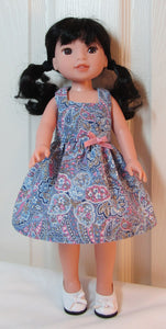 Wellie Wisher Blue Paisley Dress