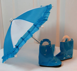 Blue & White Umbrella with Blue Boots