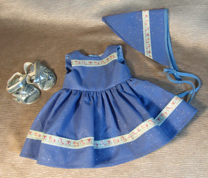 Blue Glittery Dress with Headscarf