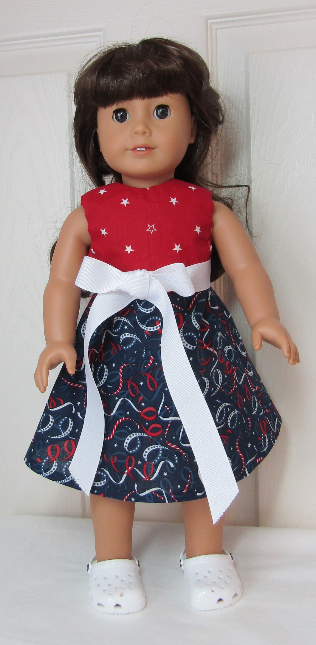 Red, White & Blue Tie-Front Dress