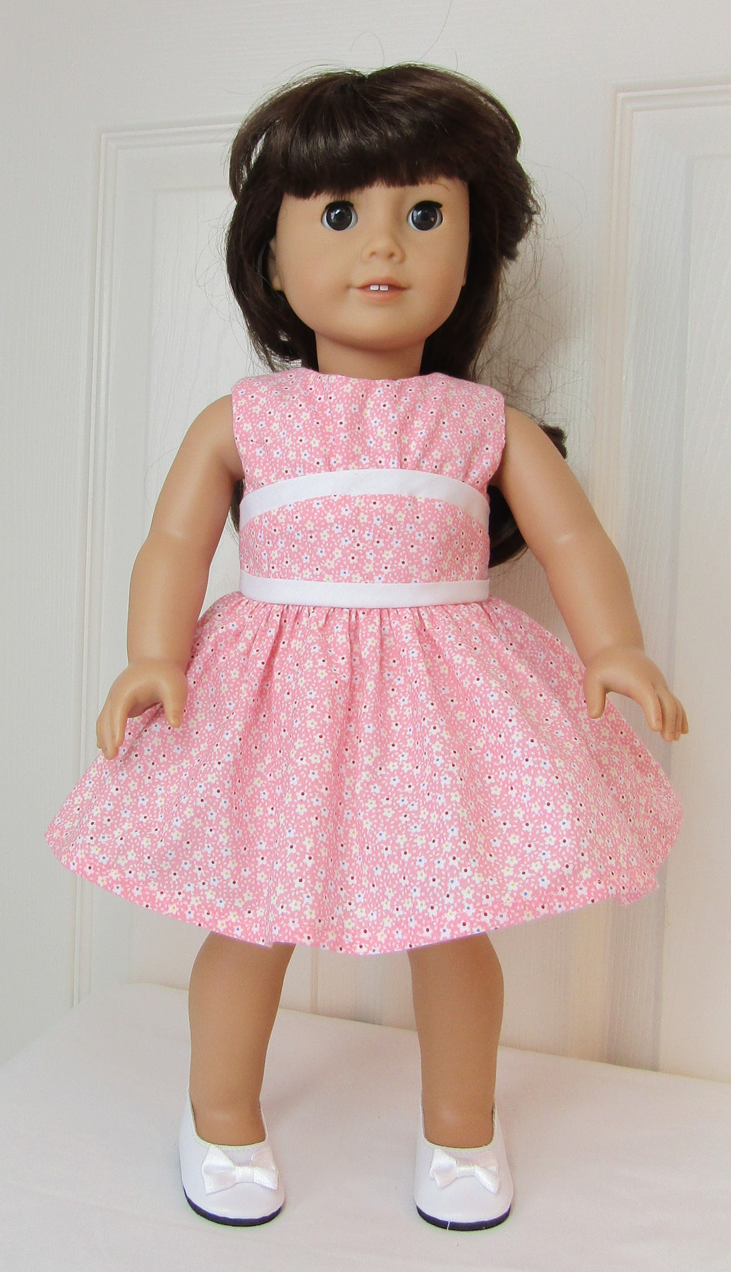 Pink Tiny-Flower Dress with Inset
