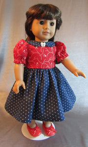 Red and Blue Collared Dress