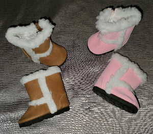 Suede Boots with White Fur