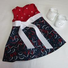 Load image into Gallery viewer, Red, White & Blue Tie-Front Dress