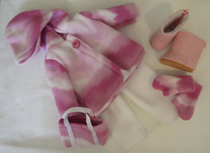 Magenta Pink Marbled Fleece Set