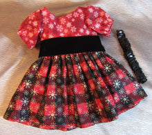 Load image into Gallery viewer, Red and Black Glittery Christmas Dress