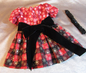 Red and Black Glittery Christmas Dress