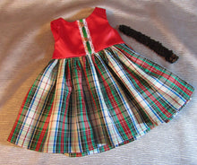 Load image into Gallery viewer, Plaid and Satin Christmas Dress