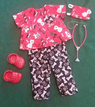 Load image into Gallery viewer, Red Veterinarian Scrubs Outfit