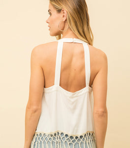 Mystree Tassel Bottom Embroidered Halter Top