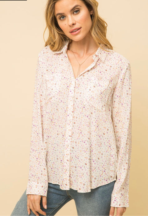 Mystree Ditsy Print Shirt with Lace Detail