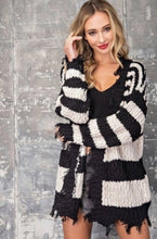Load image into Gallery viewer, Oatmeal Black Stripe Sweater