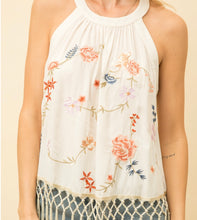 Load image into Gallery viewer, Mystree Tassel Bottom Embroidered Halter Top