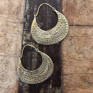 Brass Etched Plate Earrings