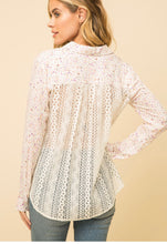 Load image into Gallery viewer, Mystree Ditsy Print Shirt with Lace Detail