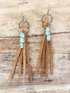 Suede Knotted Tassels with Turquoise Earrings