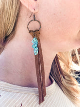 Load image into Gallery viewer, Suede Knotted Tassels with Turquoise Earrings