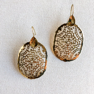 Stained Glass Brass Earrings