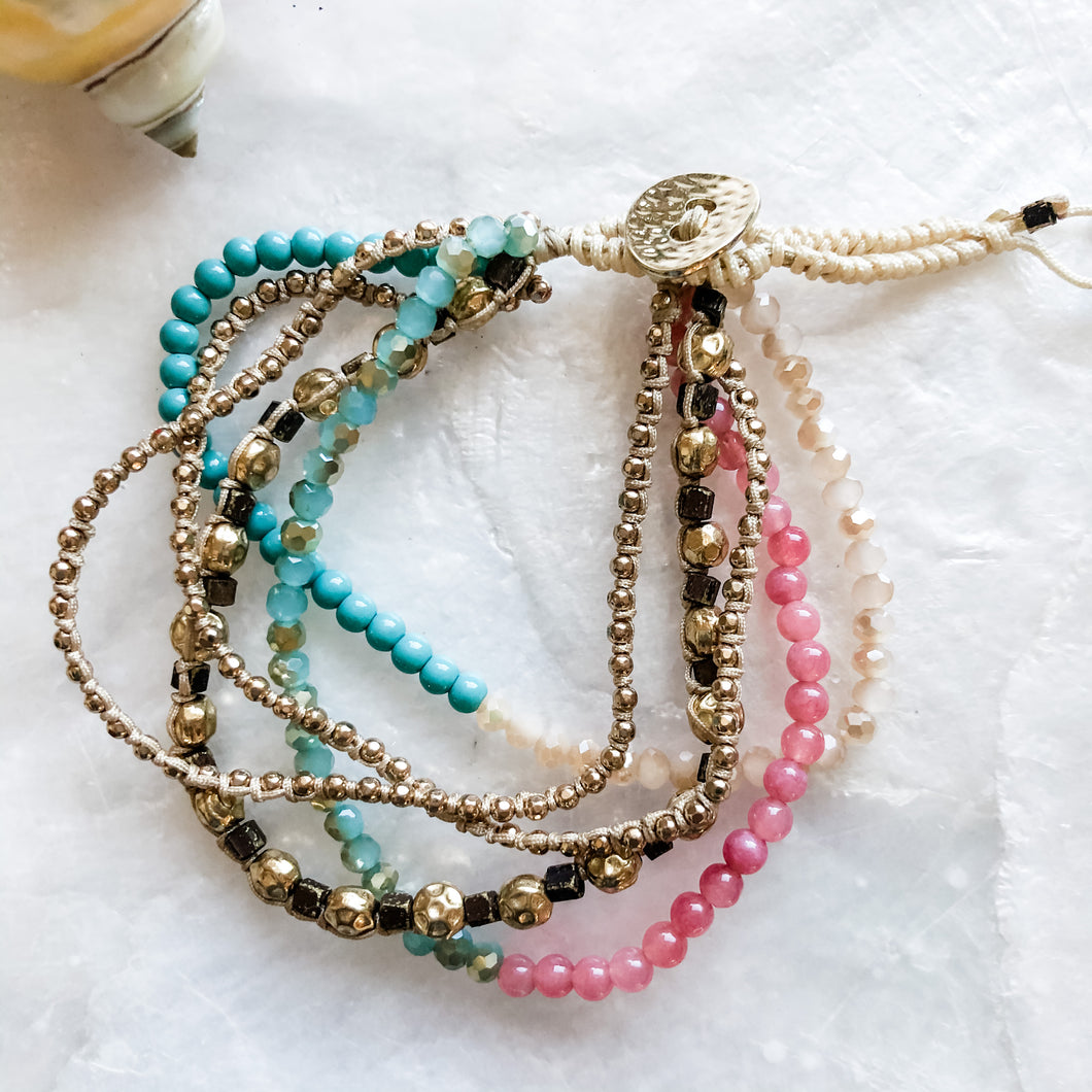 Macrame and Beaded Bracelet
