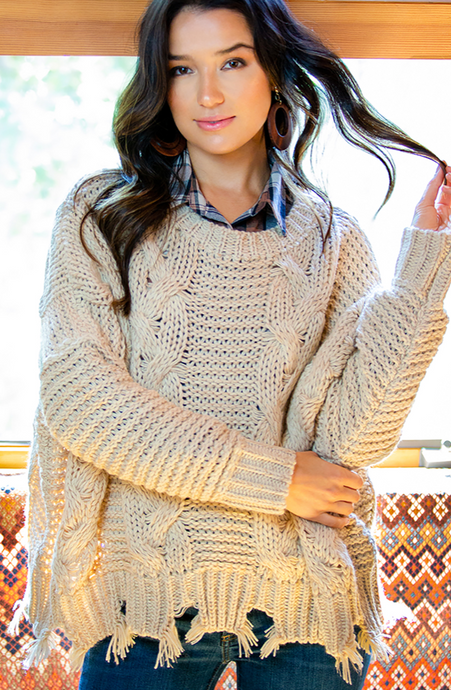 She & Sky Cable Knit Pullover