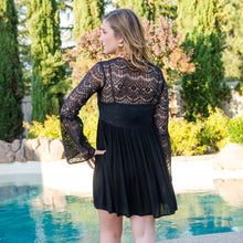Load image into Gallery viewer, Black Lace Mini Dress