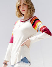 Load image into Gallery viewer, Oatmeal Stripe Sleeve Pullover