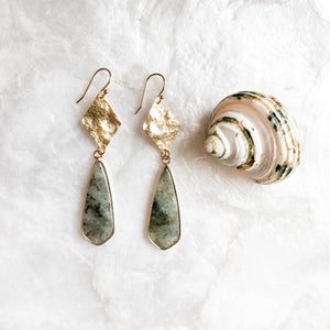 Hammered Gold and Labradorite Earrings