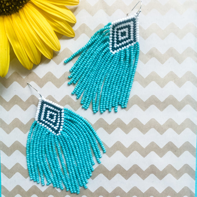 Seafoam Beaded Earrings