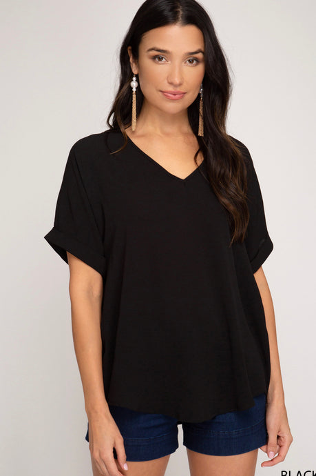 Drop Shoulder V Neck Top Black