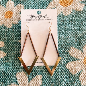 Topaz & Pearl Geometric Beaded Chevron Earrings