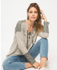 Mystree Tie Neck Thermal Top