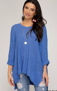 She & Sky Hi/Lo Diva Blue Sweater