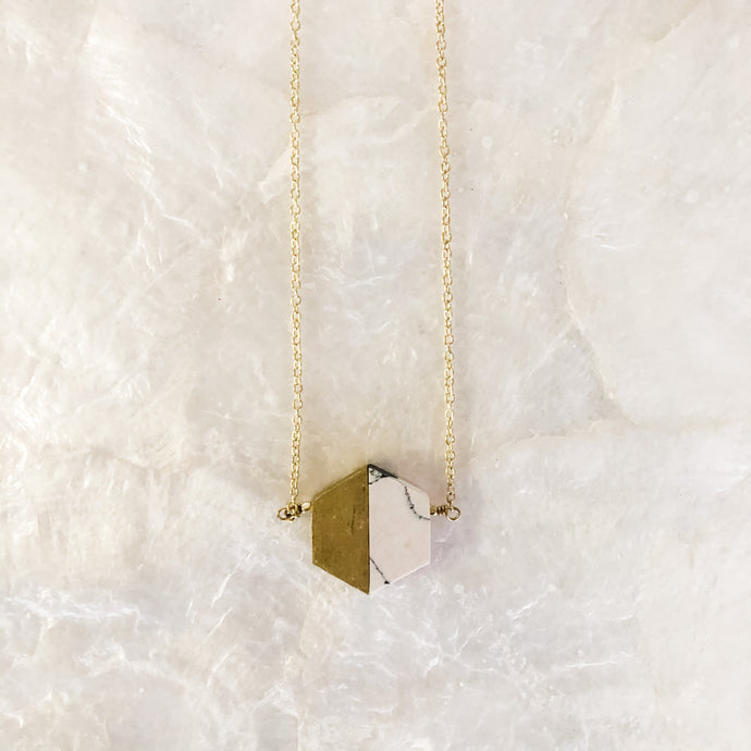 Pink Gold Geometric Necklace