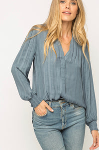 Mystree Dusty Blue Button Up