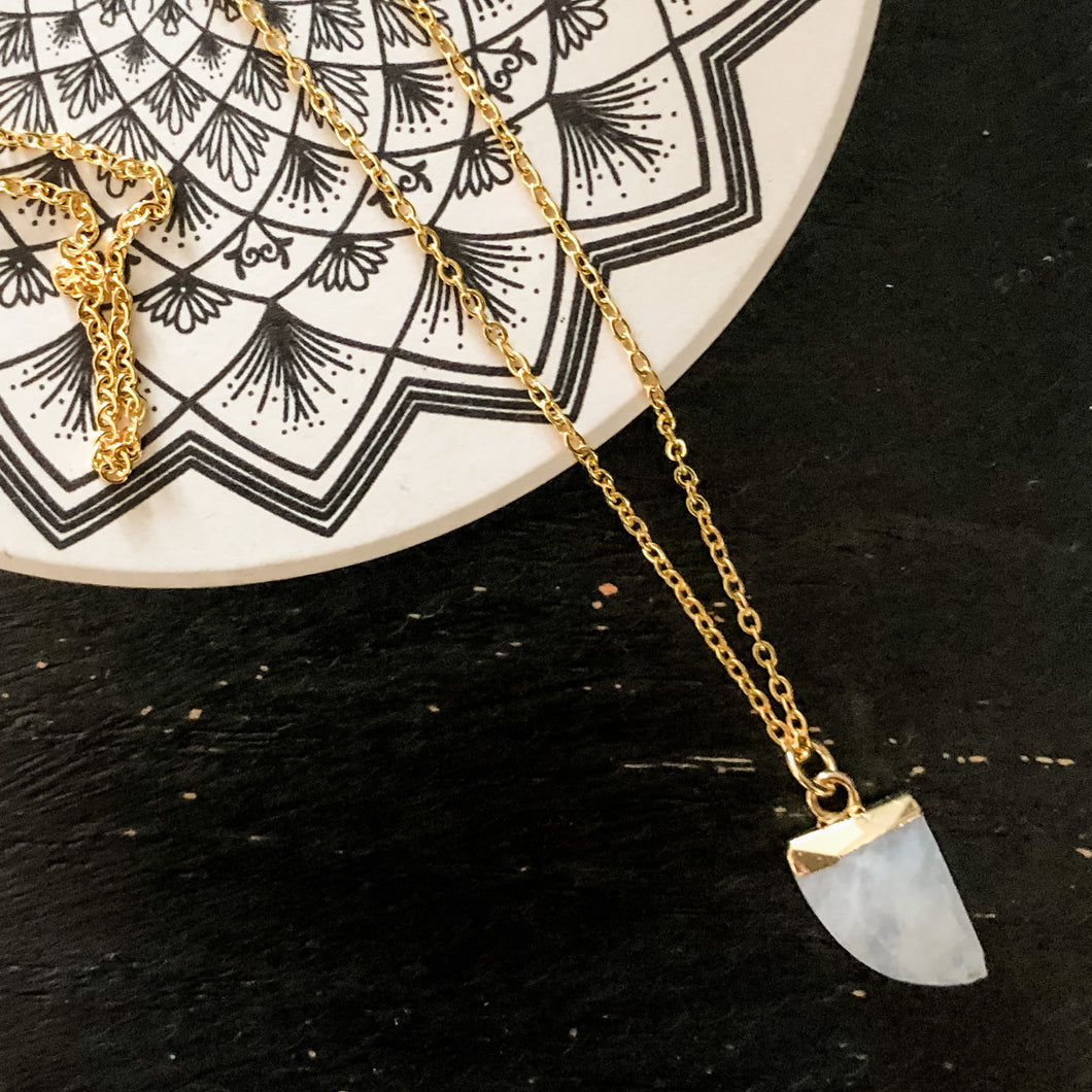 Faceted Moonstone Horn Necklace