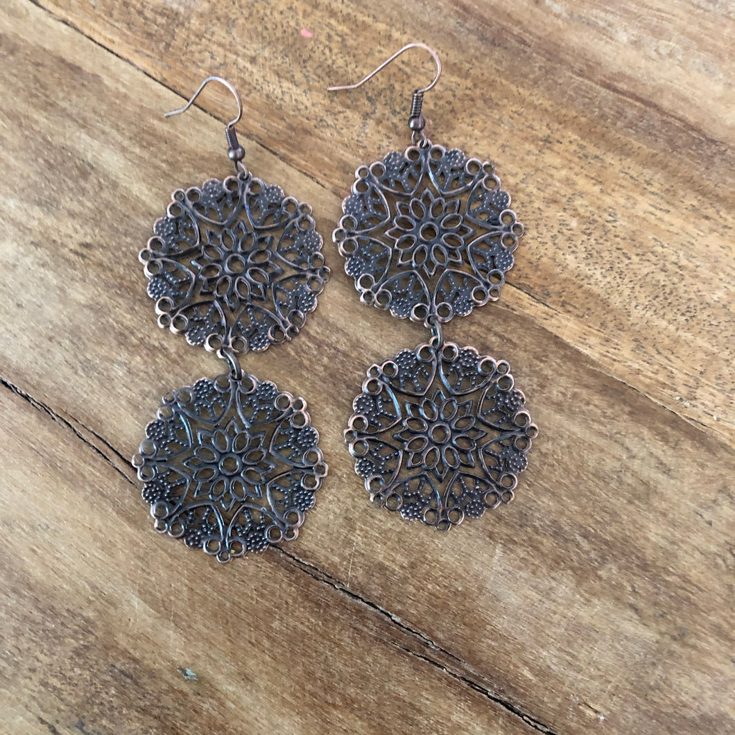 Jewelry Junkie Copper Filigree Dangle Earrings
