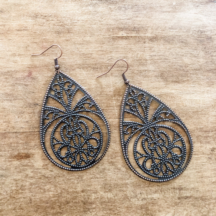 Jewelry Junkie Copper Filigree Teardrop Earrings