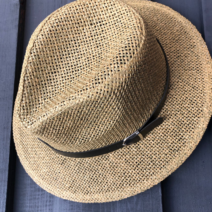 Black Belt Straw Panama Hat