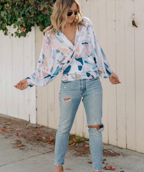 Lovestitch Abstract Kimono Wrap Top