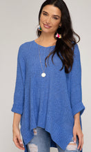 Load image into Gallery viewer, She & Sky Hi/Lo Diva Blue Sweater
