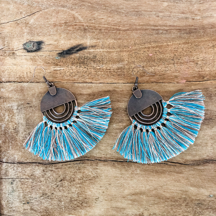 Jewelry Junkie Denim Fan Tassel Earrings