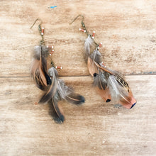 Load image into Gallery viewer, Jewelry Junkie Golden Natural Feather Earrings