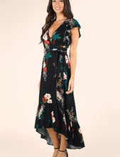Load image into Gallery viewer, Lovestitch Black Floral Wrap Dress
